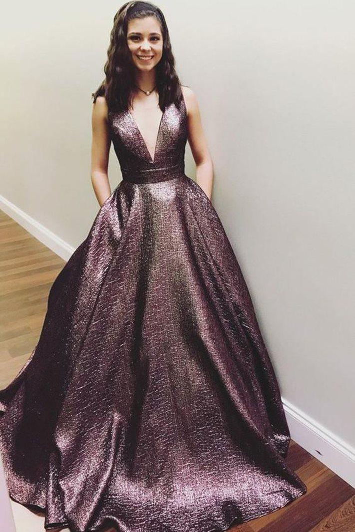 Sleeveless A-Line V-Neck Floor-Length Prom Dress