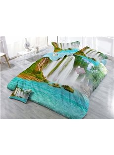 Waterfall Wear-resistant Breathable High Quality 60s Cotton 4-Piece 3D Bedding Sets