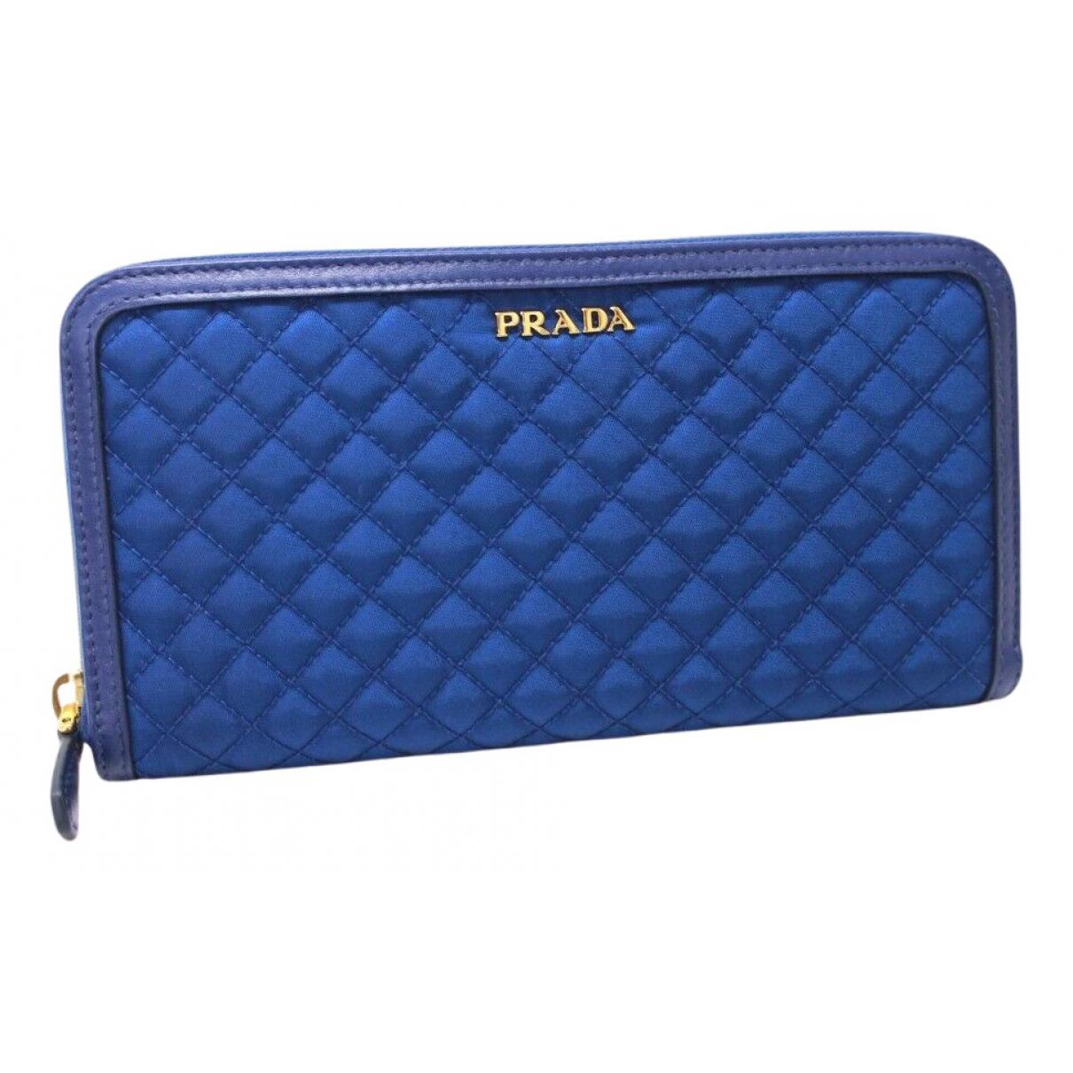 Prada - Portefeuille   pour femme en toile - bleu