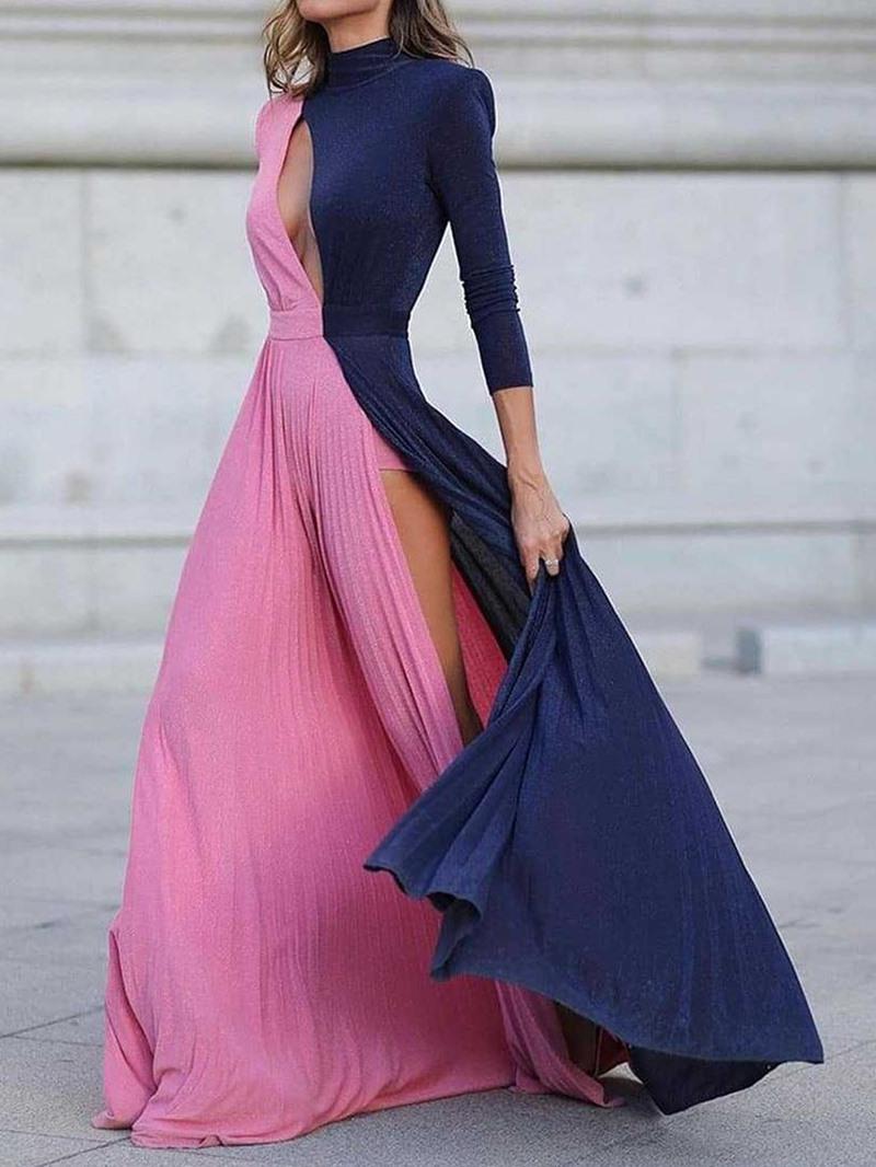 Ericdress Long Sleeve Floor-Length Hollow Regular A-Line Dress