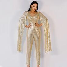 Extra Long Split Sleeve Sequin Jumpsuit
