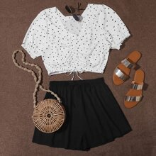 Plus Confetti Heart Ruched Milkmaid Top With Shorts