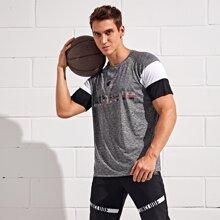 Sports T-Shirt mit Kontrast Einsatz und Buchstaben Grafik