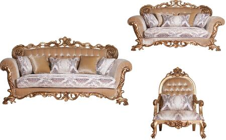 Venezia Collection Luxury 3 Pieces Set with 1 Sofa + 1 Loveseat + 1 Chair  in Antique