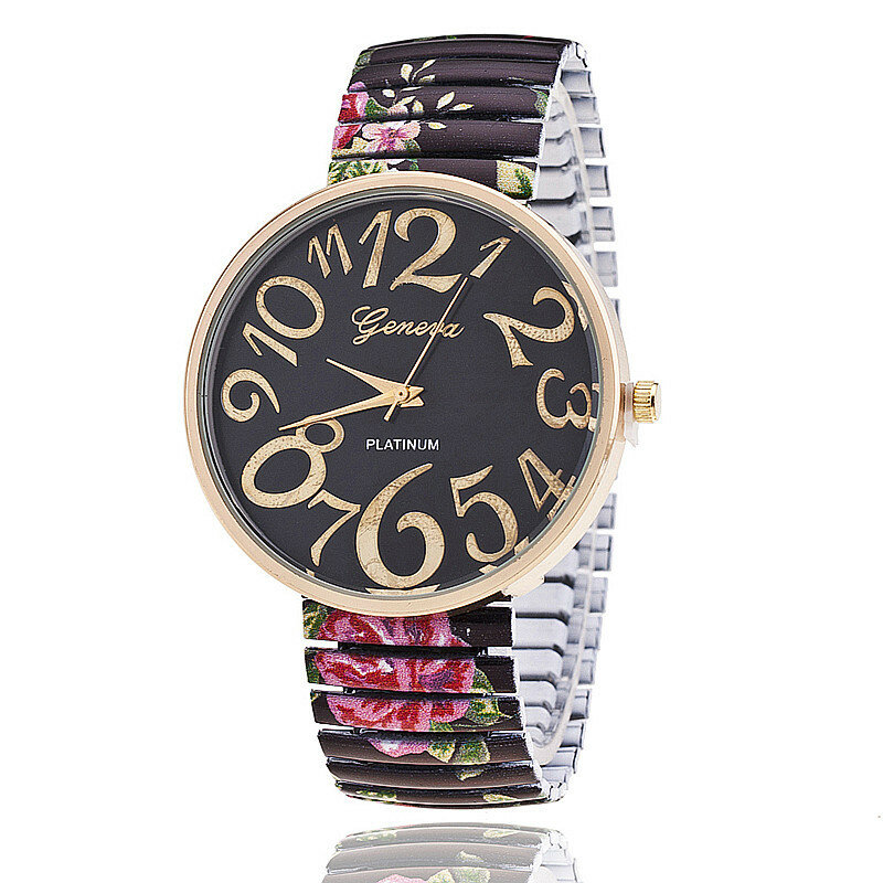 Fashion Big Numbers Flowers Watches Casual Dress Wrist Watch Accessories Gift for Girls Women