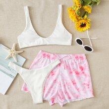 3pack Rib High Cut Bikini Swimsuit & Tie Dye Shorts