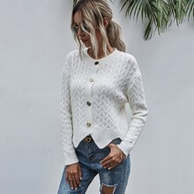 Cable Knit Scallop Trim Cardigan