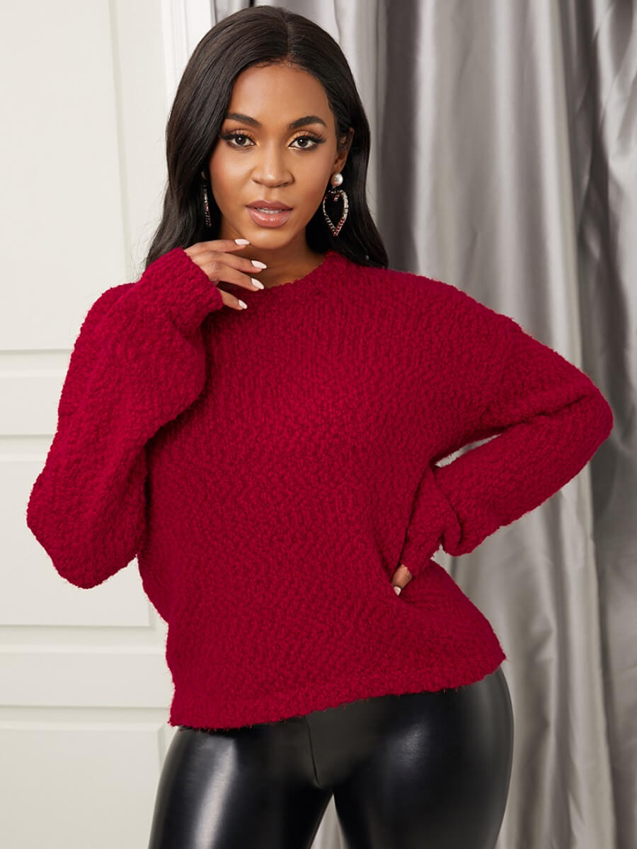 LW Lovely Stylish O Neck Dropped Shoulder Red Sweater