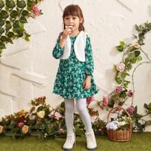 Toddler Girls Teddy Vest Jacket With Ditsy Floral Smock Dress