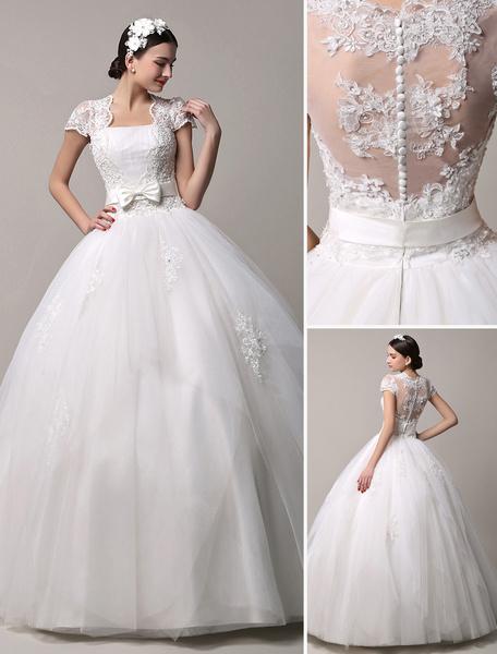 Milanoo Short Sleeve Lace Princess Wedding Dress with Layered Tulle Skirt
