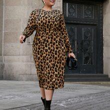 Midi Kleid mit Leopard Muster