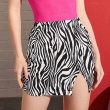 Split Hem Zebra Striped Skirt