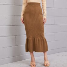 Ribbed Knit Ruffle Hem Skirt