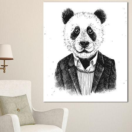 Designart Funny Hipster Panda Black White AnimalCanvas Art Print, One Size , White