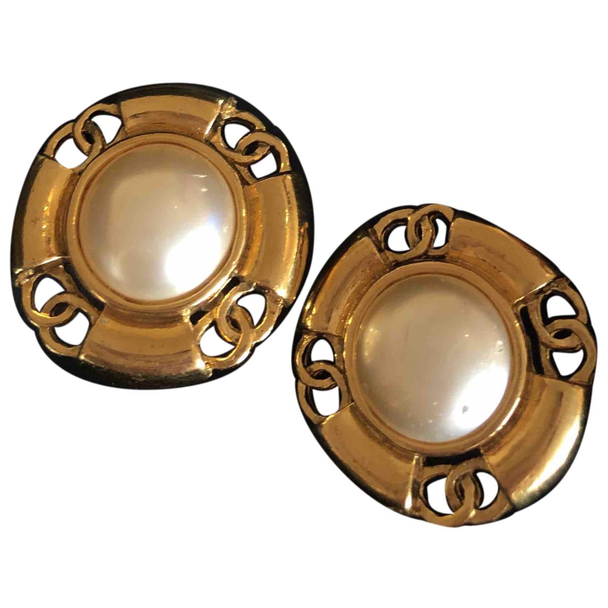 Chanel - Boucles d'oreilles CC pour femme en perle - dore
