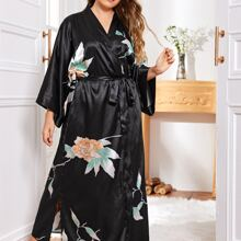 Plus Flower Print Belted Satin Robe