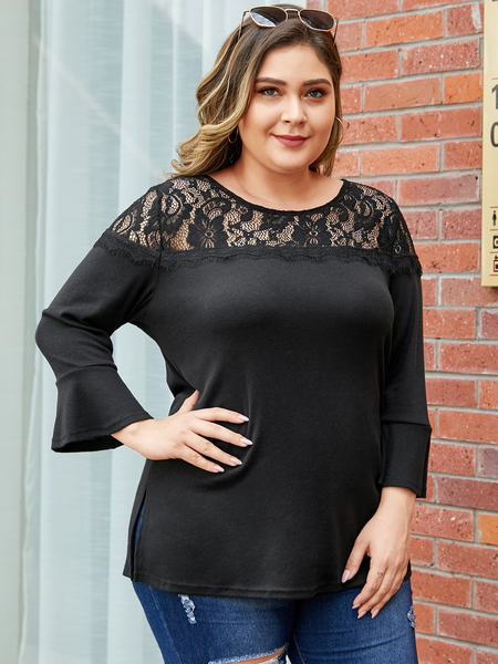 YOINS Plus Size Black Lace Patchwork Long Sleeves Tee