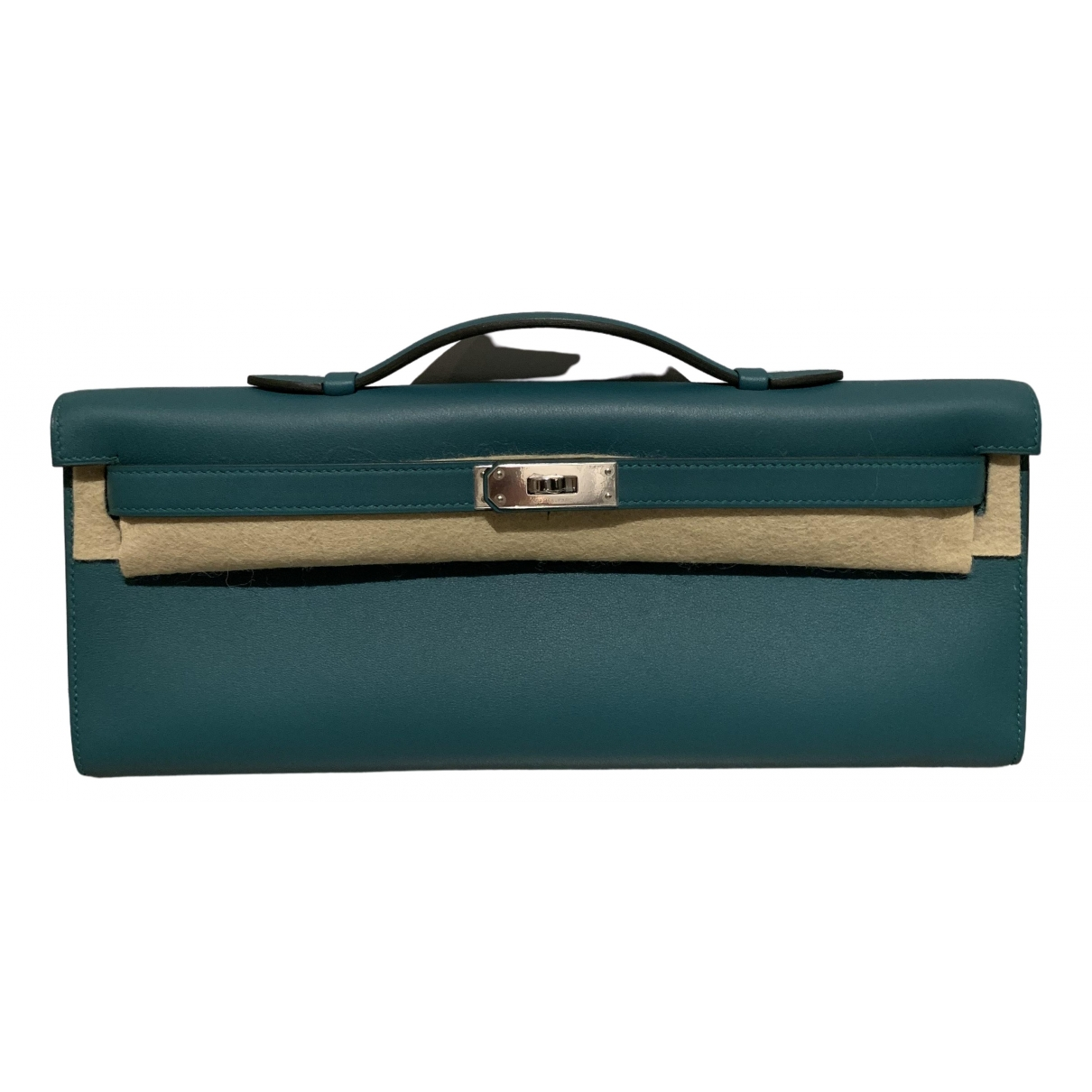 Hermès Kelly Cut Clutch Green Leather Clutch bag for Women \N