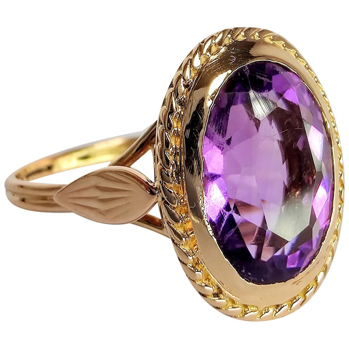 - Bague Amethyste pour femme en or jaune - violet