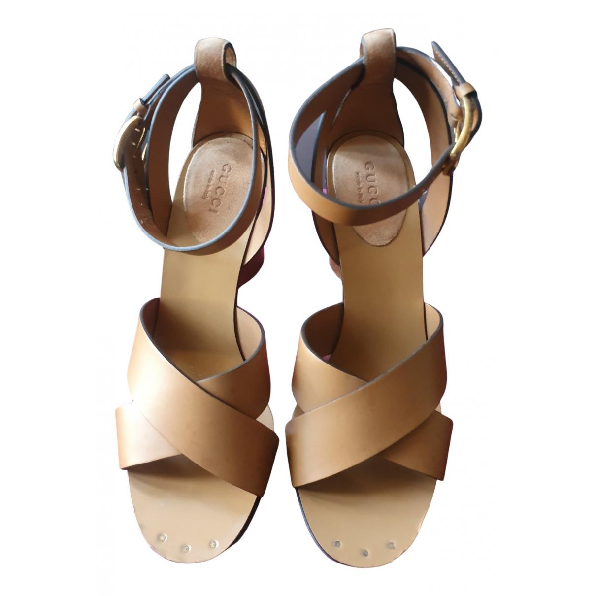 Gucci - Sandales   pour femme en cuir - camel