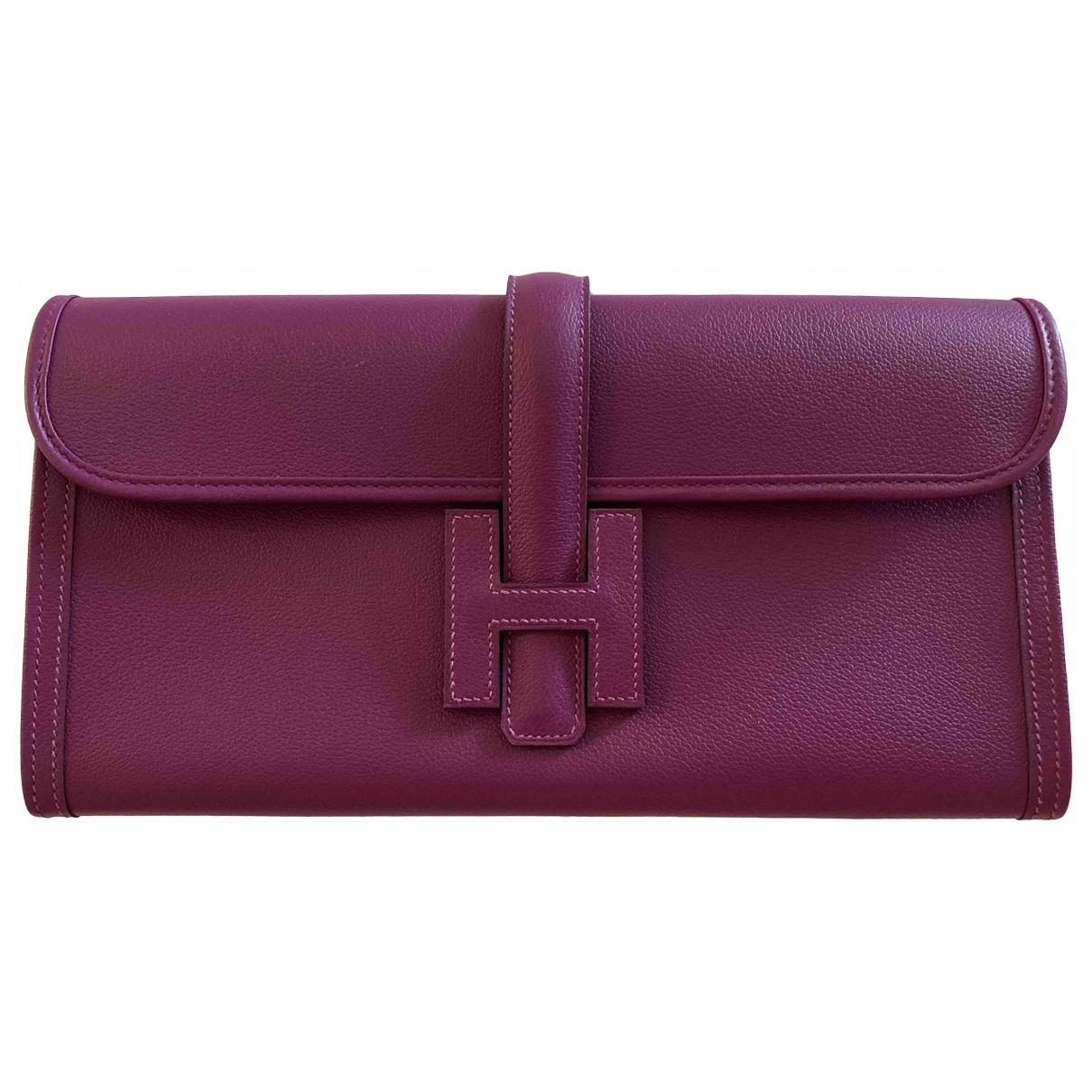 Hermes - Pochette Jige pour femme en cuir - violet