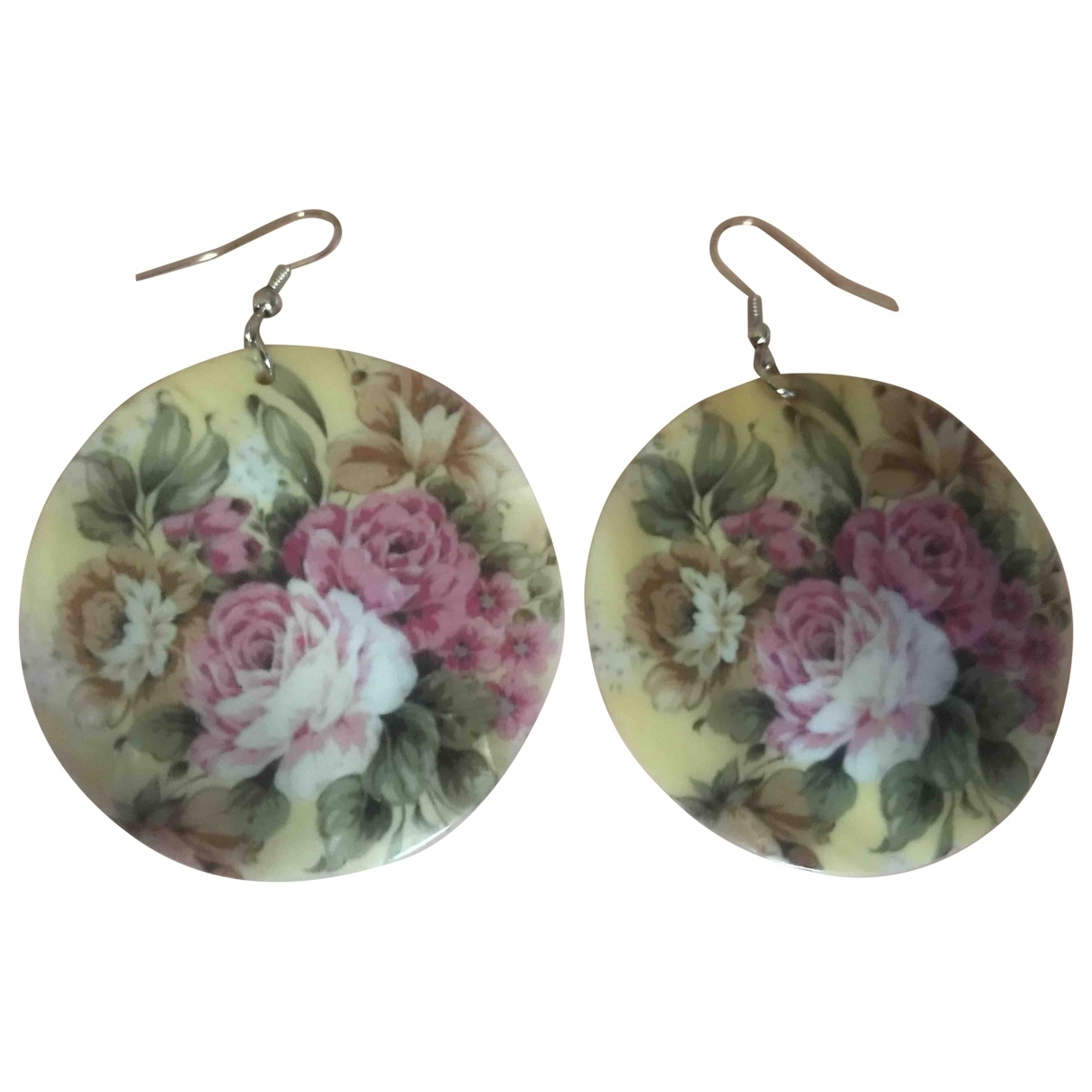 Non Signe / Unsigned Motifs Floraux OhrRing in  Rosa Weissgold