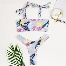 Tropical Tie Shoulder High Cut Bikini Swimsuit