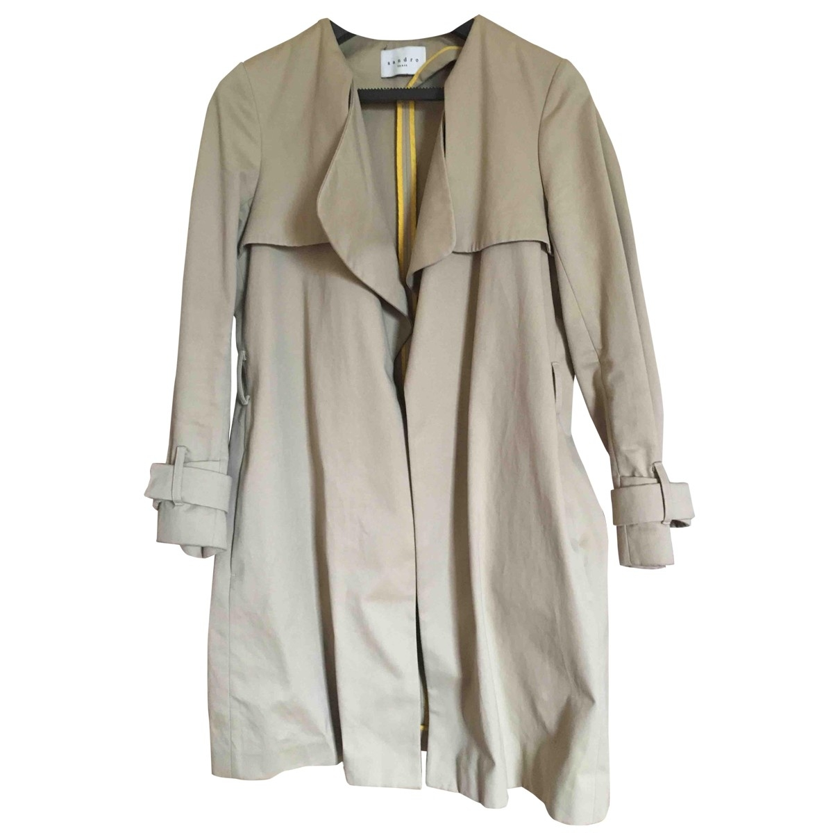 Sandro \N Beige Cotton Trench coat for Women 40 FR