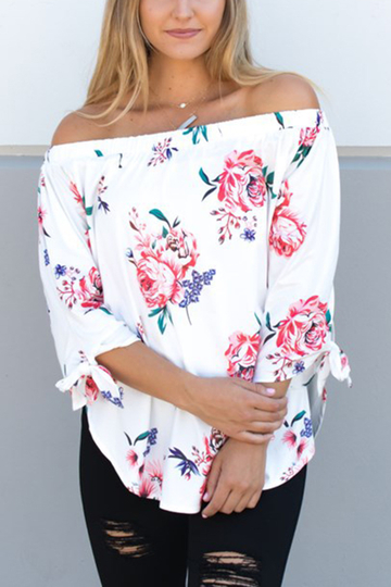 Yoins White Off-The-Shoulder Random Floral Print Top
