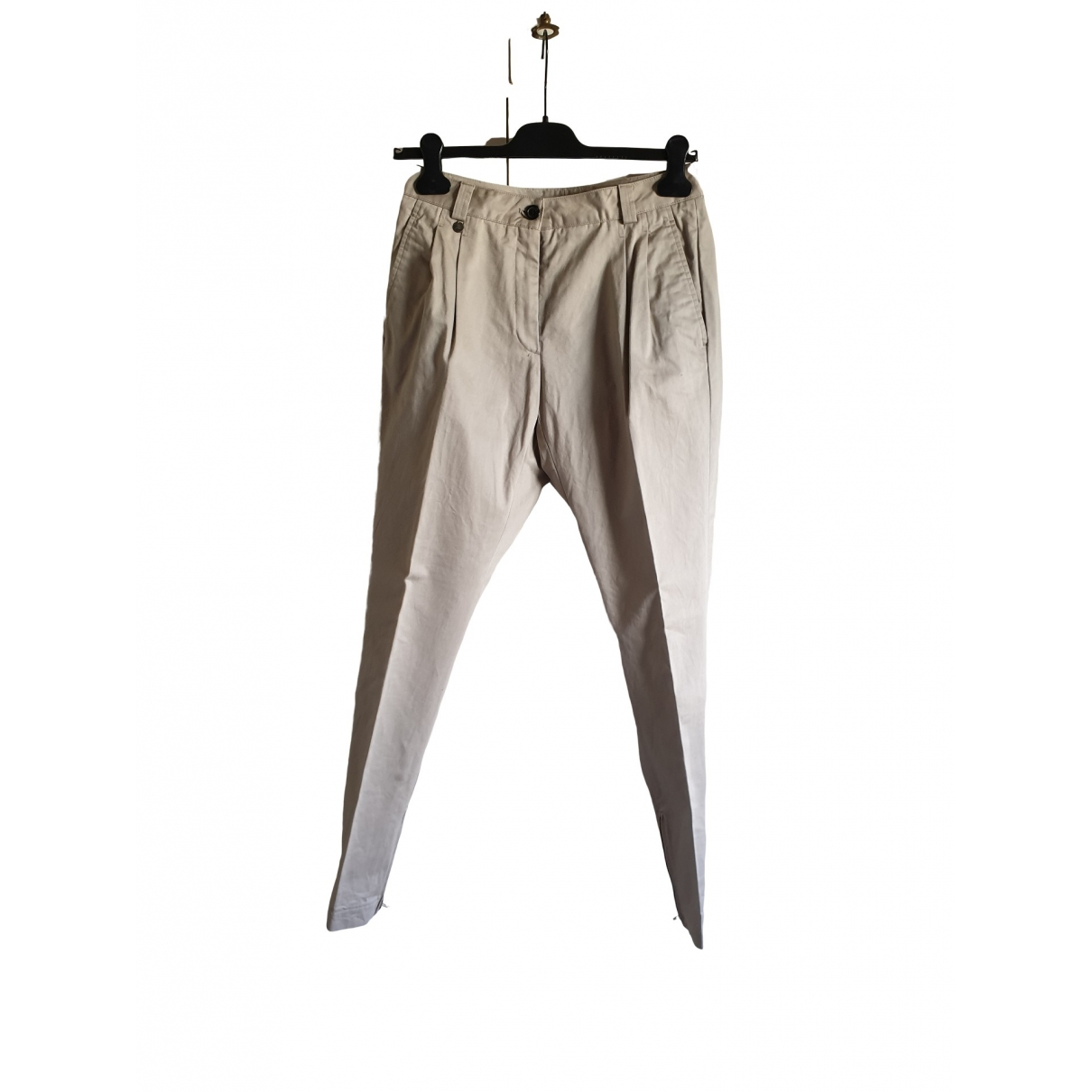 Mauro Grifoni \N Beige Cotton Trousers for Women 42 IT