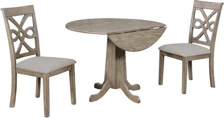 GL-5999 French Twist 3 Piece 40 Round Drop Leaf Dining Table Set  Two Upholstered