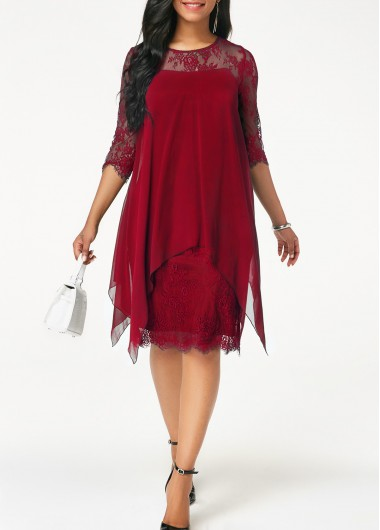 Women'S Wine Red Chiffon Flowy Dress Burgundy Illusion Lace Shift Knee Length Asymmetric Hem Three Quarter Sleeve Casual Dress By Rosewe - L