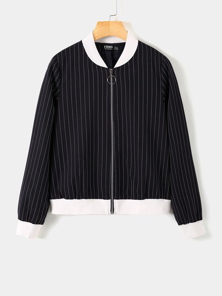 YOINS Navy Zip Design Striped Stand Collar Jacket
