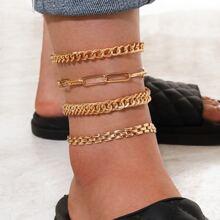 4pcs Simple Chain Anklet