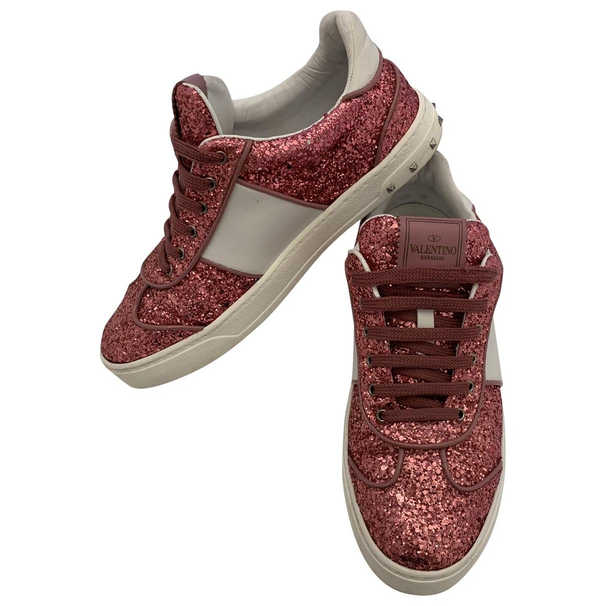 Valentino Garavani Rockstud Pink Glitter Trainers for Women 38 EU