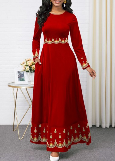 Women'S Red Tribal Print Long Sleeve Maxi Holiday Dress  Round Neck Cocktail Party Dress By Rosewe - XXL