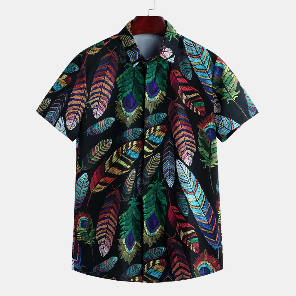 Mens Summer Hawaiian Casual Fashion Leaf Printing Shirts