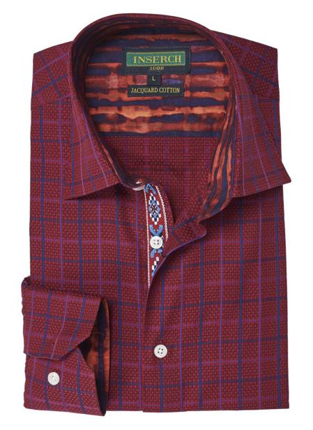 Men's Collared Button Closure Red Jacquared Cotton Shirt