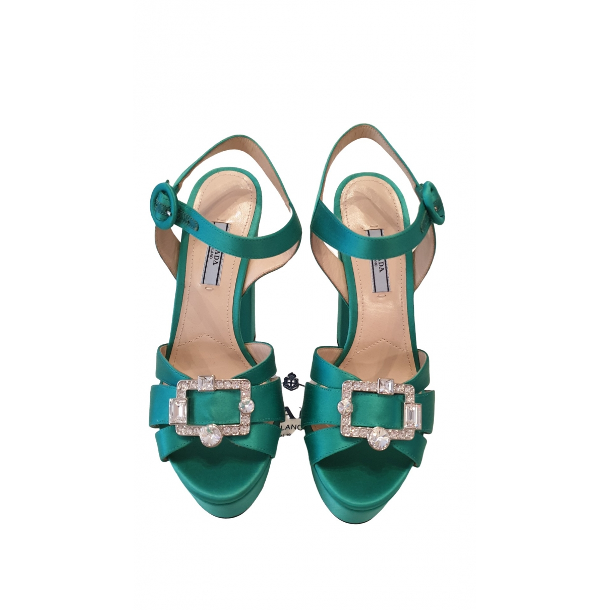 Prada - Sandales   pour femme en suede - vert