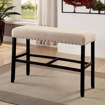 Sania II CM3324BK-BBN Bar Ht. Bench with Rustic Style  Bold Distressed Details  Nailhead Trim  Ivory Linen-like Fabric in Antique