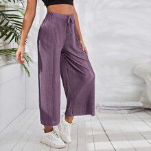 Knot Front Pleated Cropped Pants