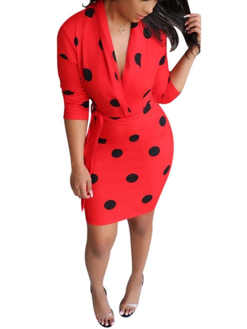 Ericdress Print V-Neck Nine Points Sleeve Polka Dots Fall Dress