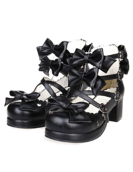 Milanoo Bows Decor Buckled Lolita Shoes