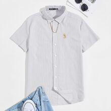 Hemd mit Seepferdchen Muster und Streifen & Kette