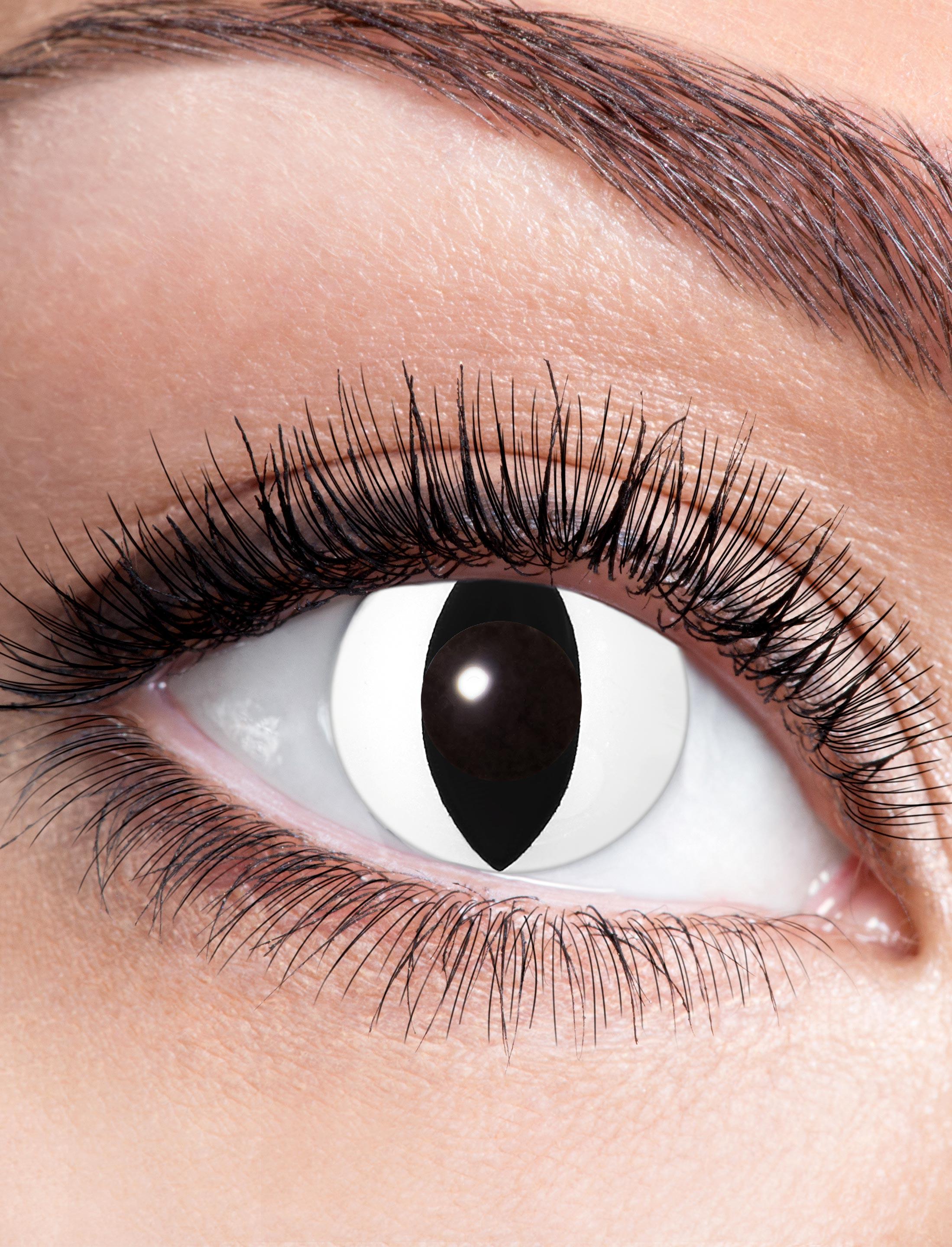 Kostuemzubehor Kontaktlinsen Black Cat Farbe: weiss