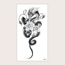 1 Blatt Blumen & Drachen Muster Tattoo Aufkleber