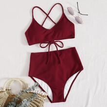 Gerippter Bikini Badeanzug mit Band hinten und hoher Taille
