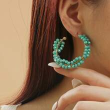 1 Paar Kreolen mit Perlen Dekor