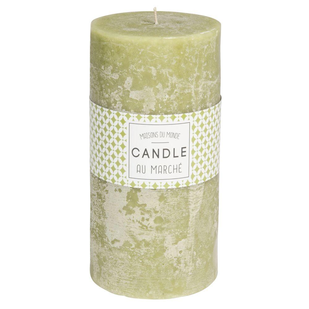 Zylindrische Kerze gruen 9 x 18 cm
