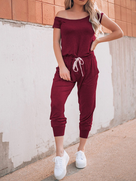 Milanoo Off The Shoulder Jumpsuit Short Sleeves Summer One Piece Outfit
